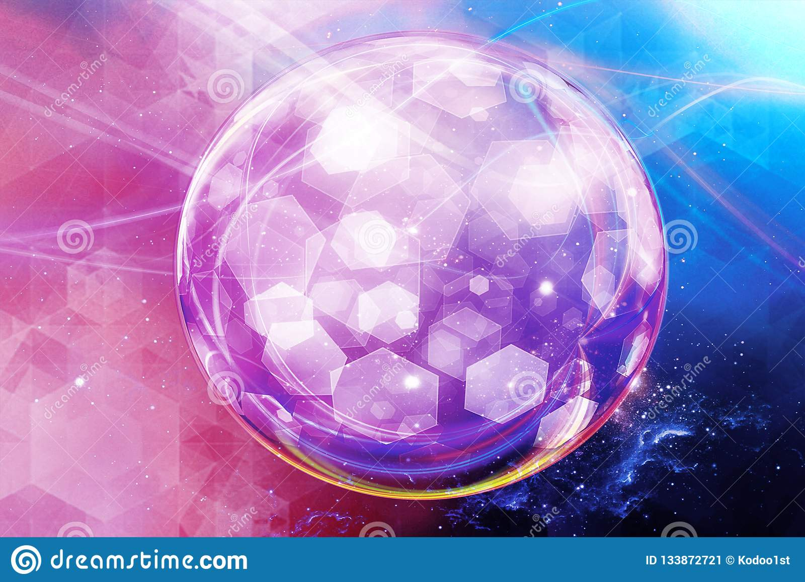 Boule abstraite artistique d énergie sur un fond galactique multicolore