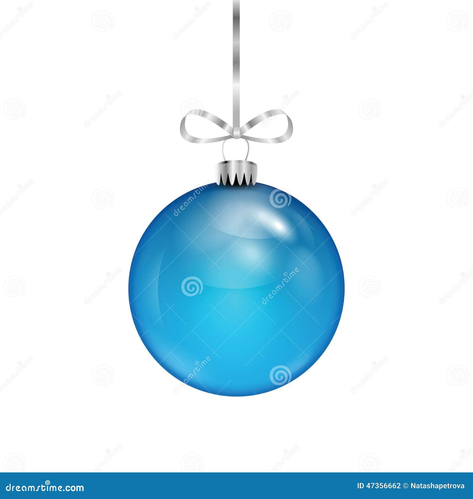 Boule bleue de Noël sur le ruban argenté