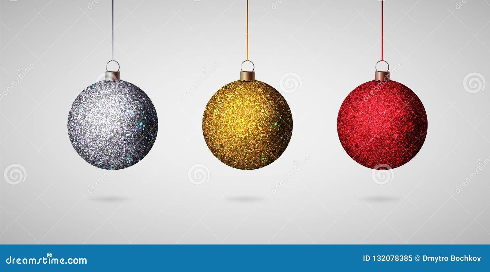 Image Brillante De Noel.Boule Brillante De Noel Ensemble Realiste De Boules De Noel