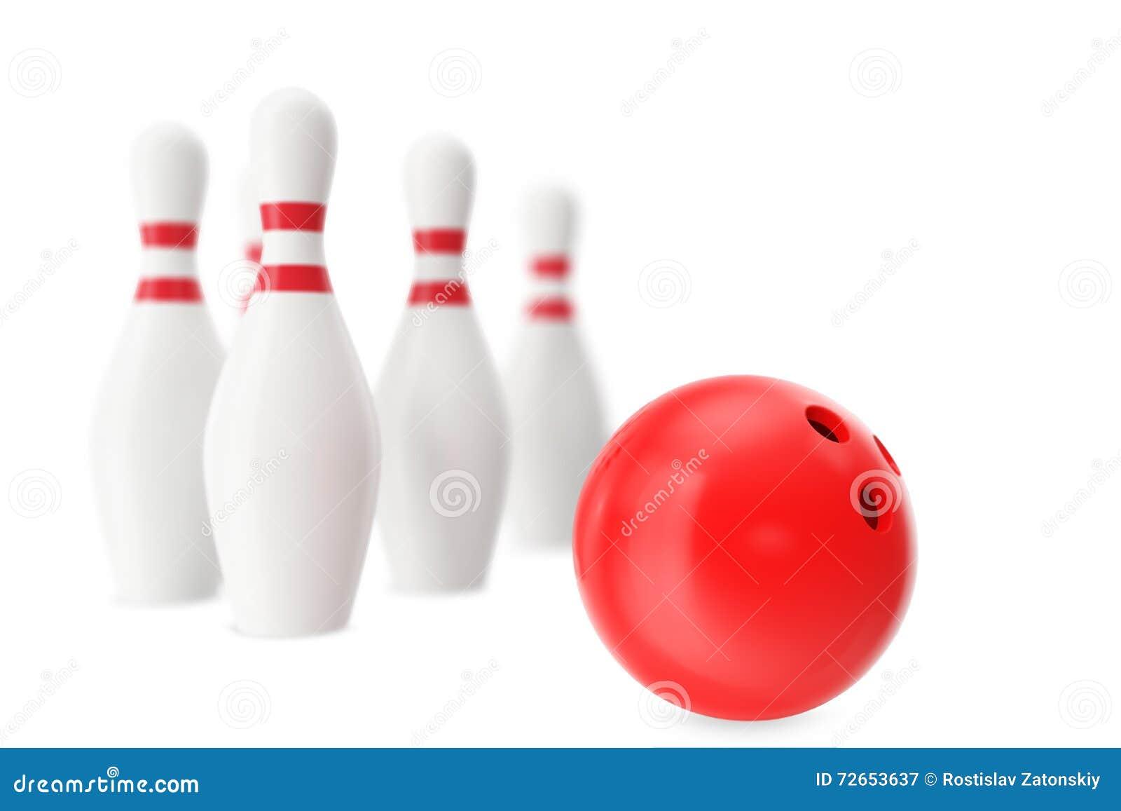 Boule de bowling rouge dans le premier plan avec un effet de tache floue illustration 3d - Arbuste avec boule rouge ...