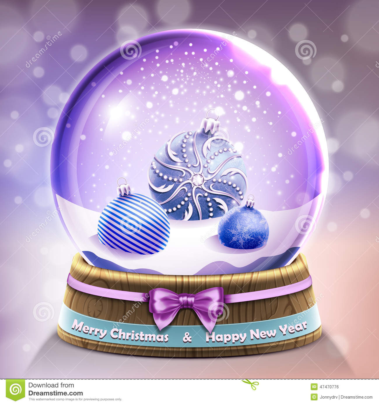 boule de cristal en verre de neige avec des boules de no l illustration de vecteur image 47470776. Black Bedroom Furniture Sets. Home Design Ideas