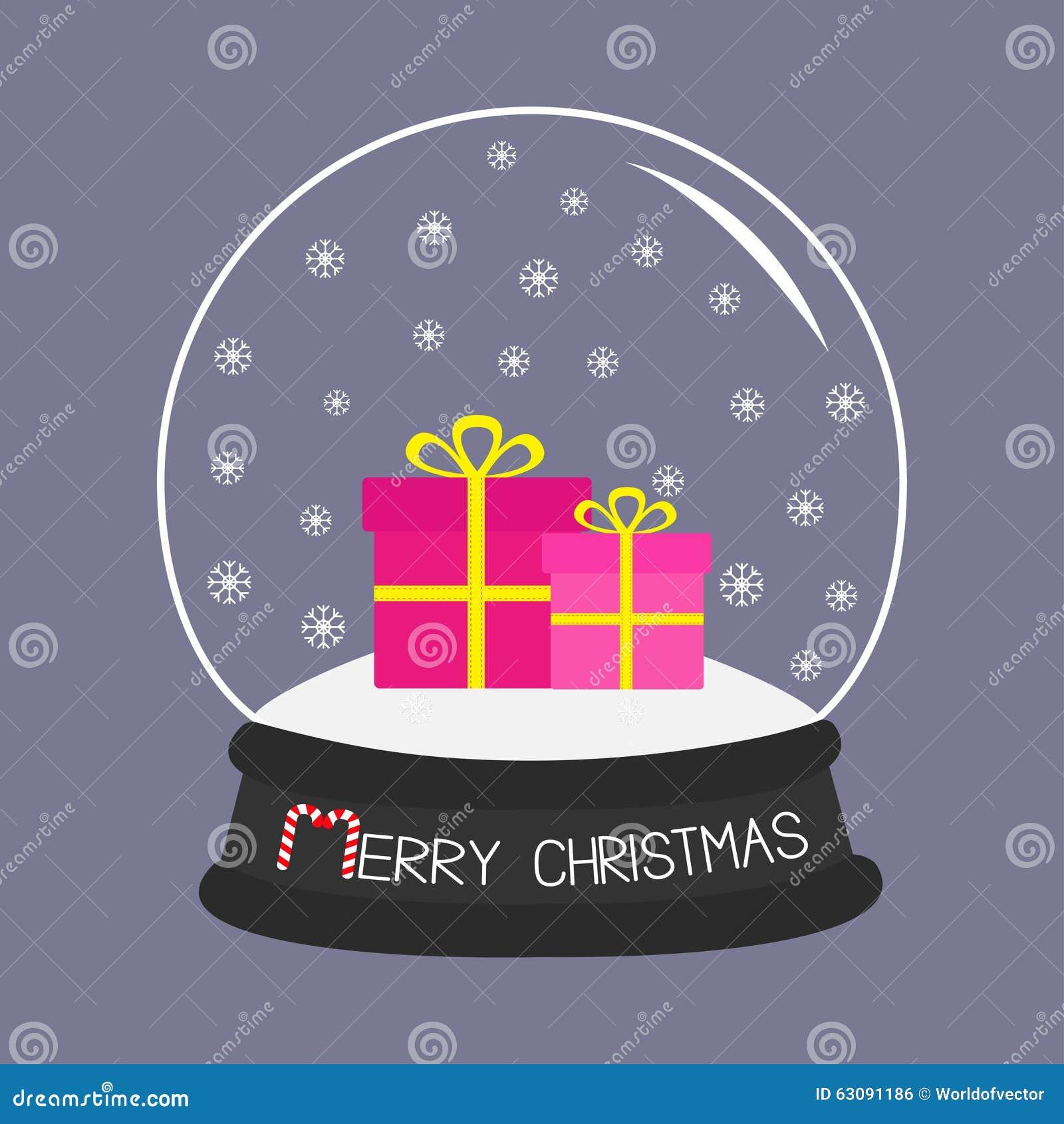 Download Boule De Cristal Réglée De Boîte-cadeau Avec Des Flocons De Neige Fond Violet Conception Plate De Carte De Joyeux Noël Illustration de Vecteur - Illustration du illustration, rose: 63091186
