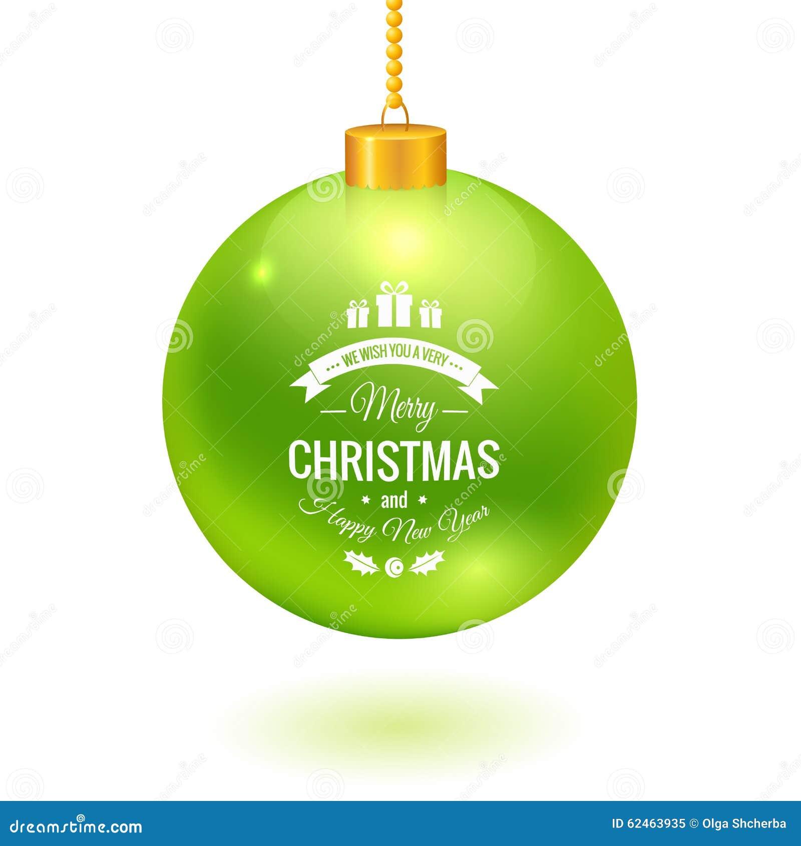 Boule De Noël Avec Le Logo Accrochant Sur Une Chaîne Illustration