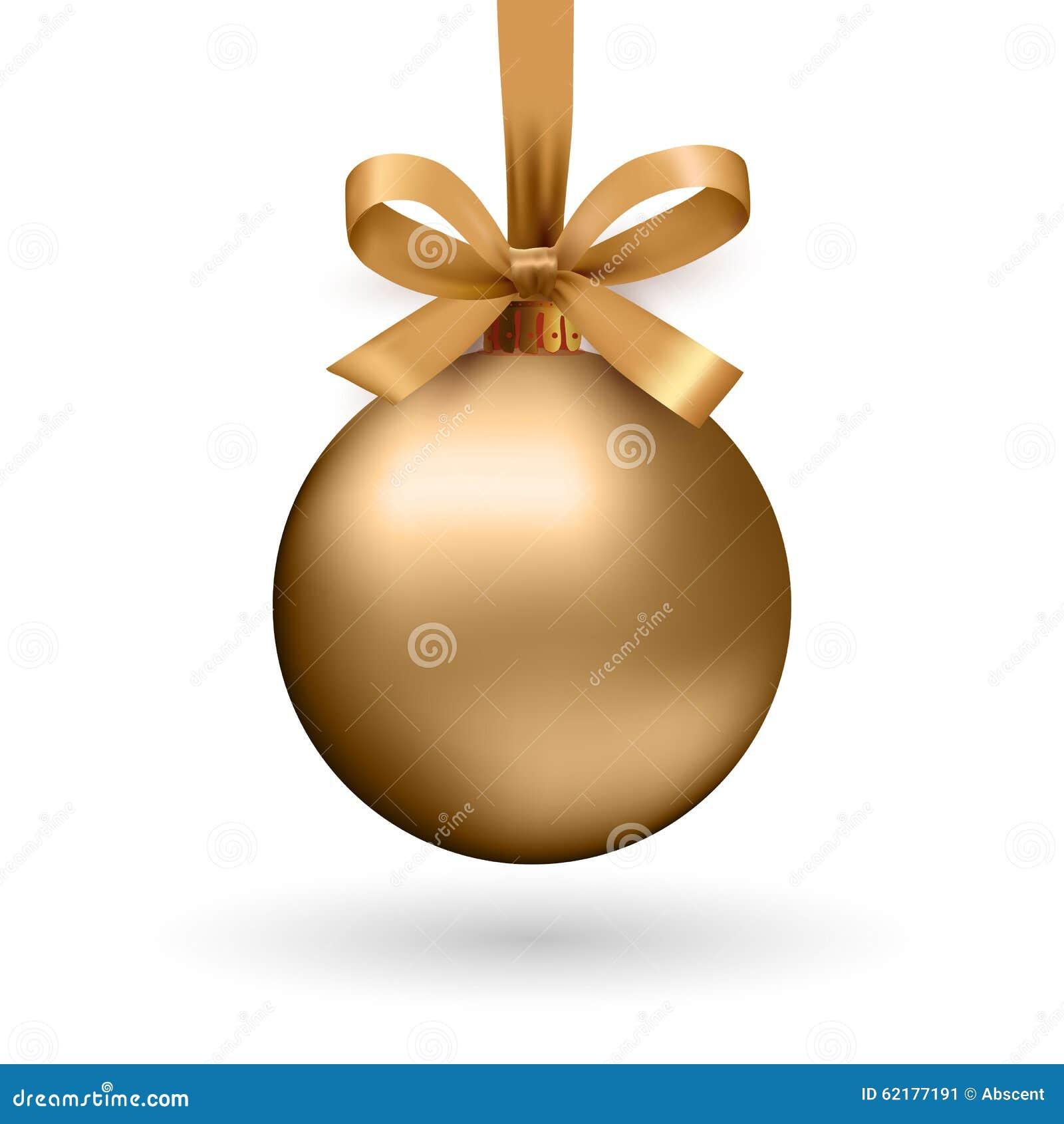 Boule de Noël d or avec le ruban et un arc