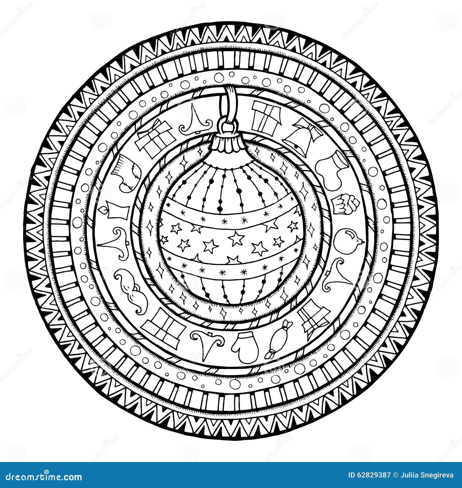 boule de noël de griffonnage sur le mandala ethnique