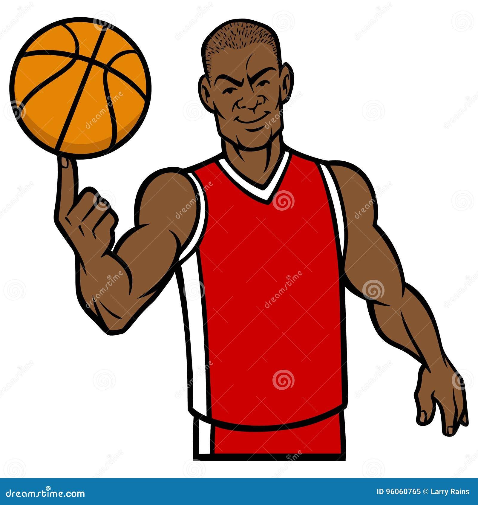 Boule de rotation de joueur de basket avec le doigt