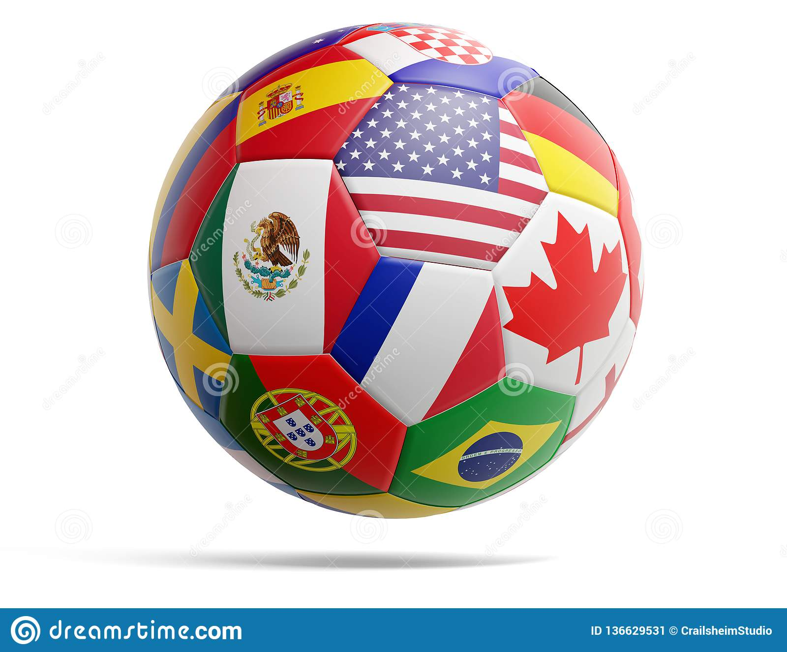 Boule du football du football avec des drapeaux des Etats-Unis Canada Mexique et divers autres 3d-illustration