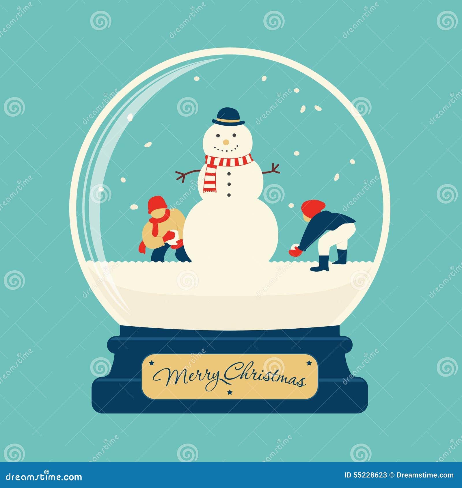 boule en verre de joyeux no l avec le bonhomme de neige illustration stock image 55228623. Black Bedroom Furniture Sets. Home Design Ideas