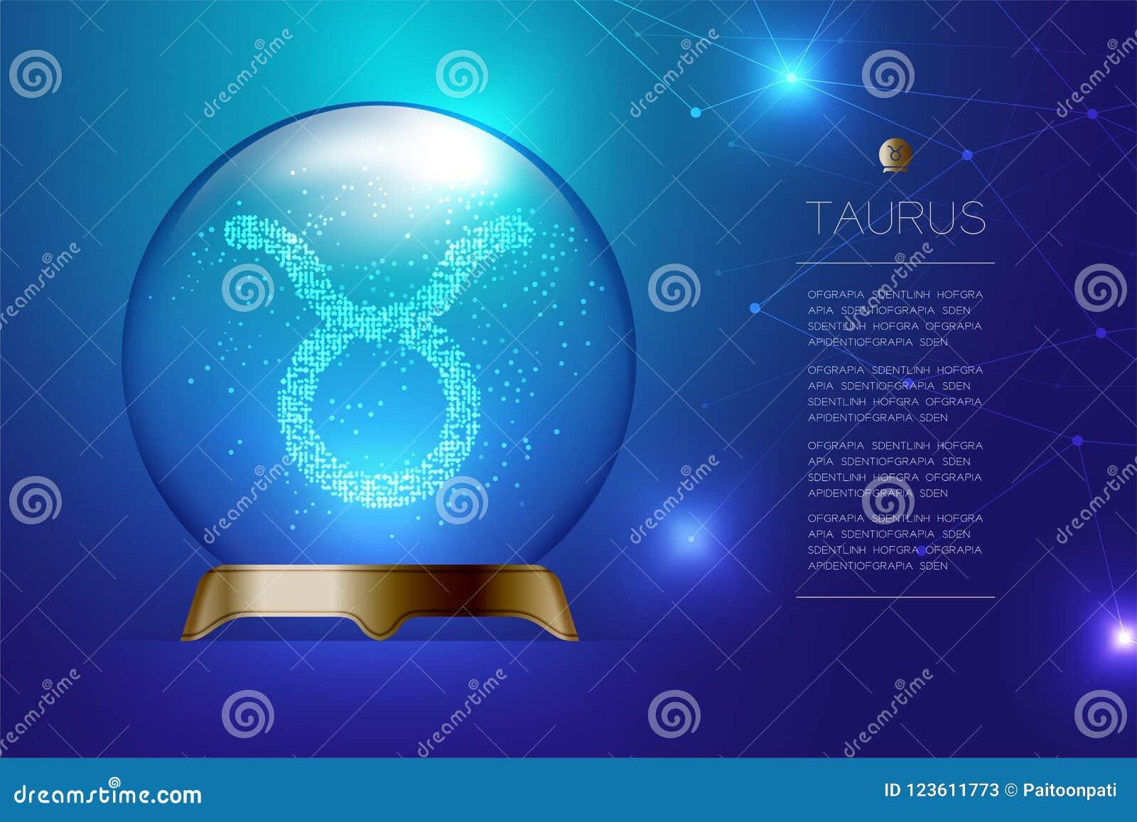 Boule En Verre Magique De Connexion De Taurus Zodiac Illustration