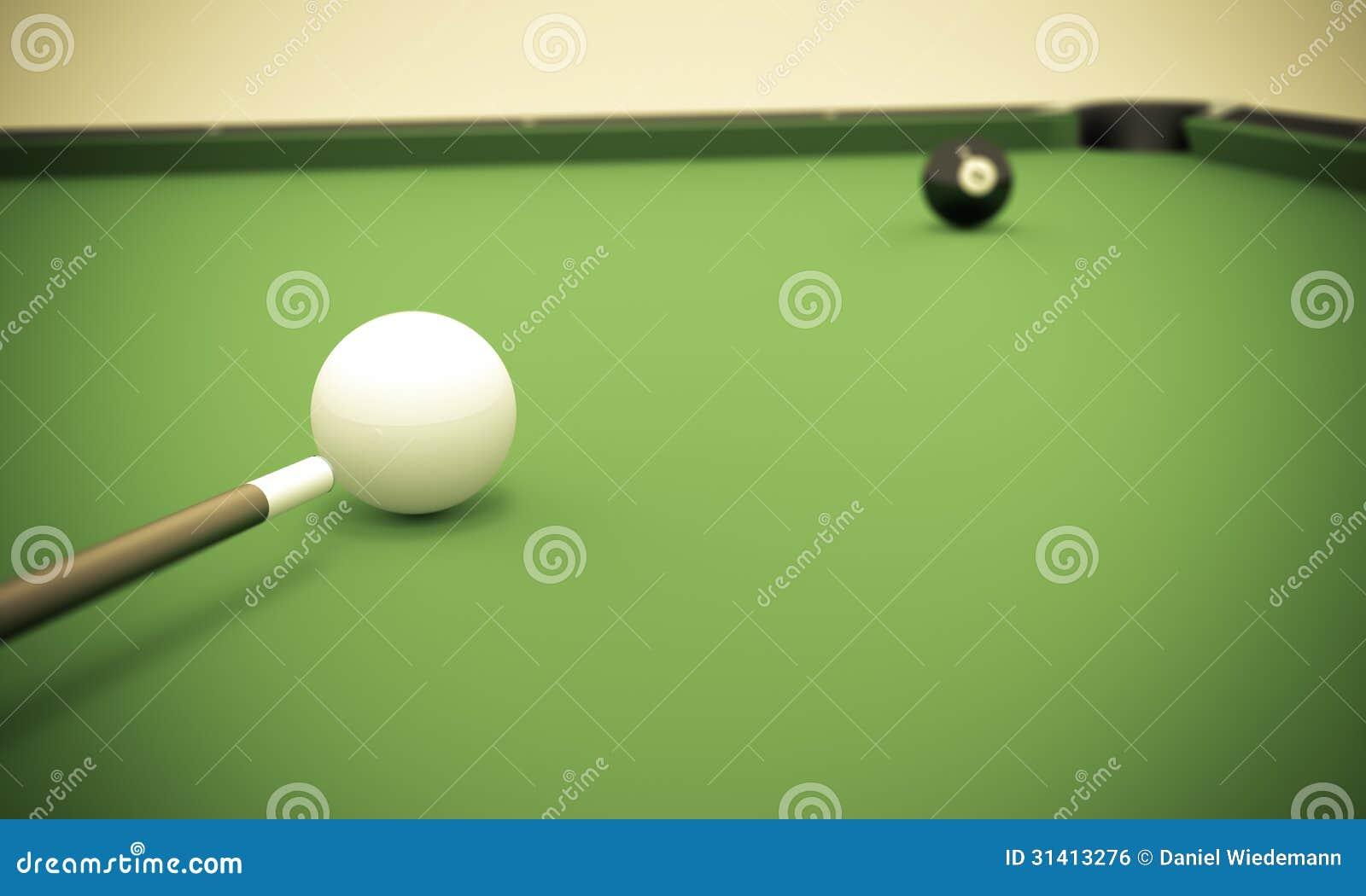 Boule huit à côté de la poche faisante le coin