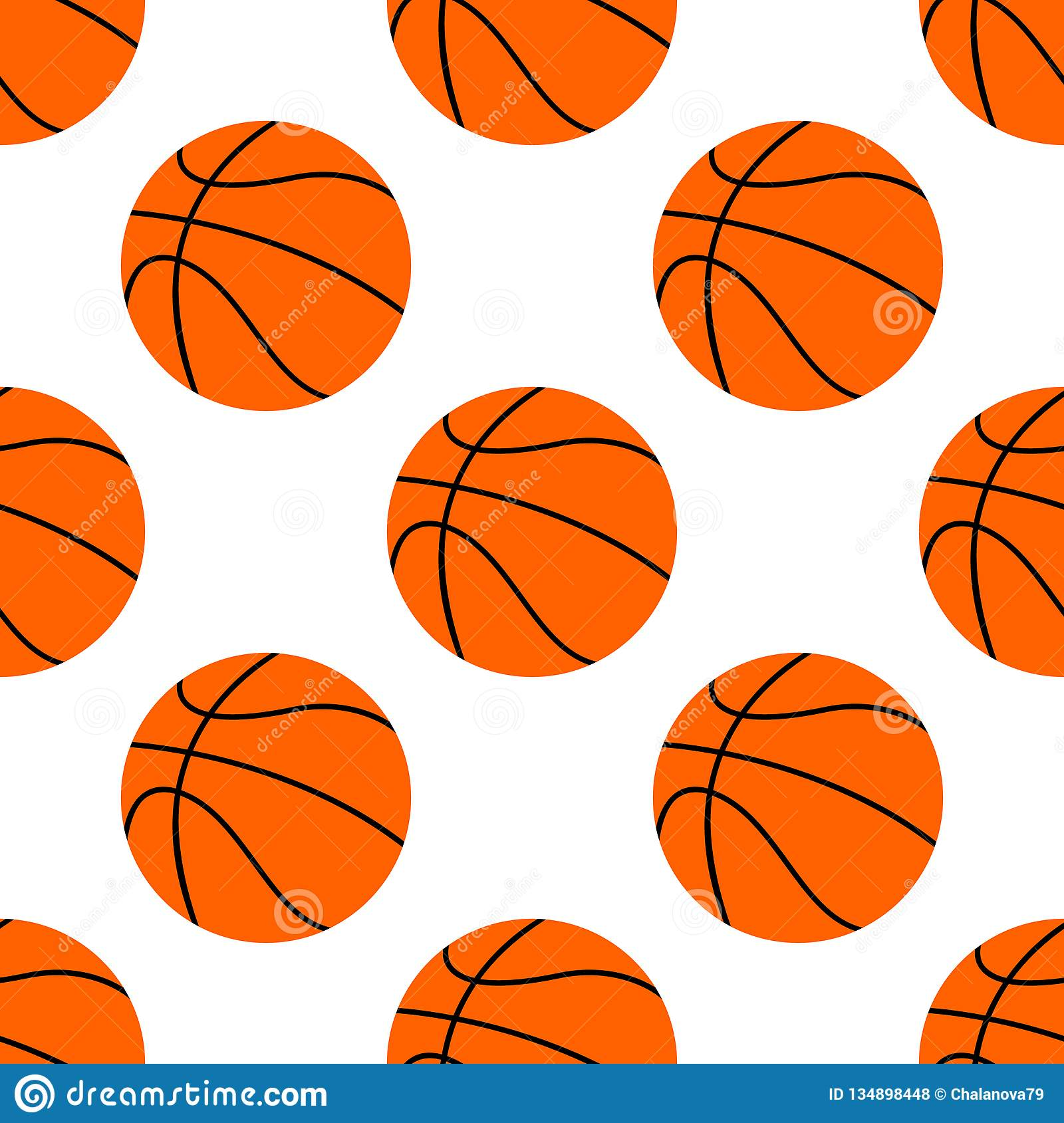 Boule plate orange de basket-ball, illustration de vecteur d isolement sur le fond blanc Configuration sans joint