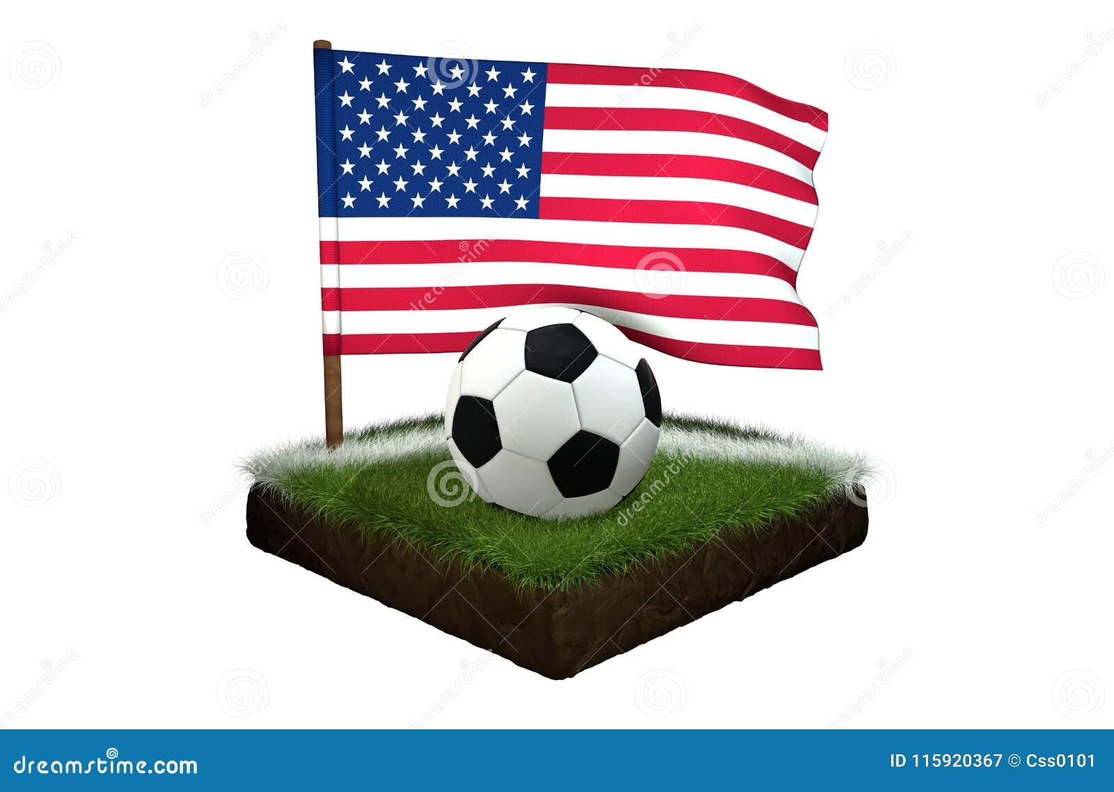 Boule pour jouer le football et le drapeau national des Etats-Unis sur le champ avec l herbe