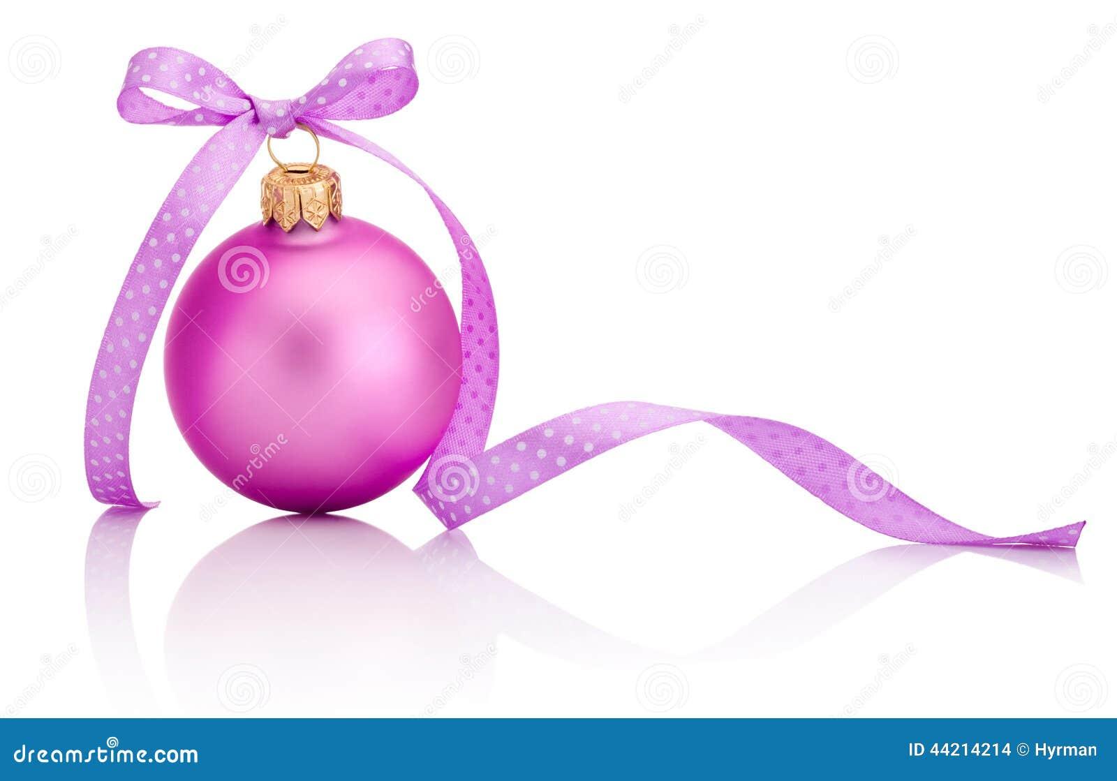 Boule Rose De Noël Avec L'arc De Ruban D'isolement Sur Le Fond