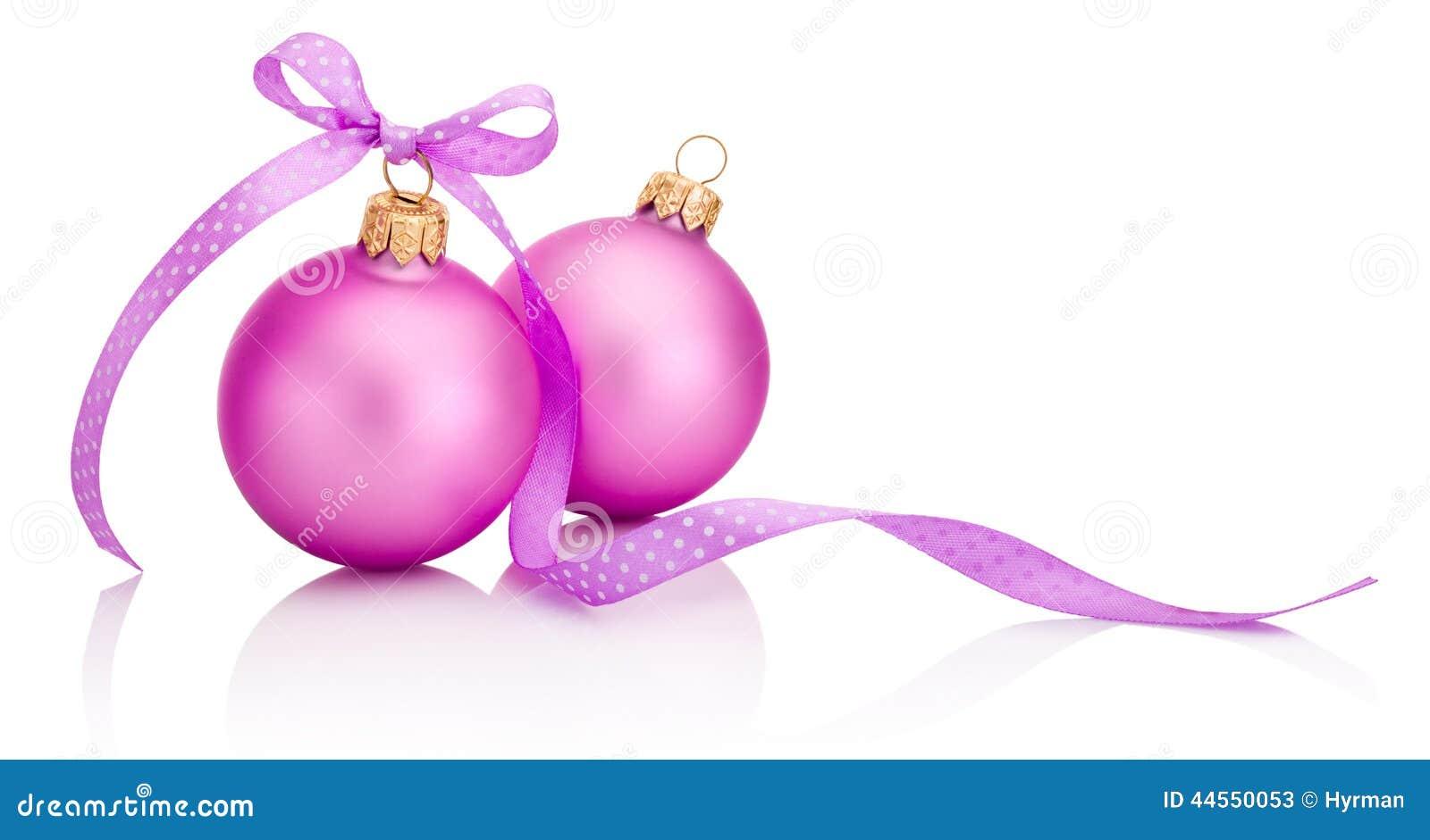 Boule Rose De Noël Deux Avec L'arc De Ruban D'isolement Sur Le
