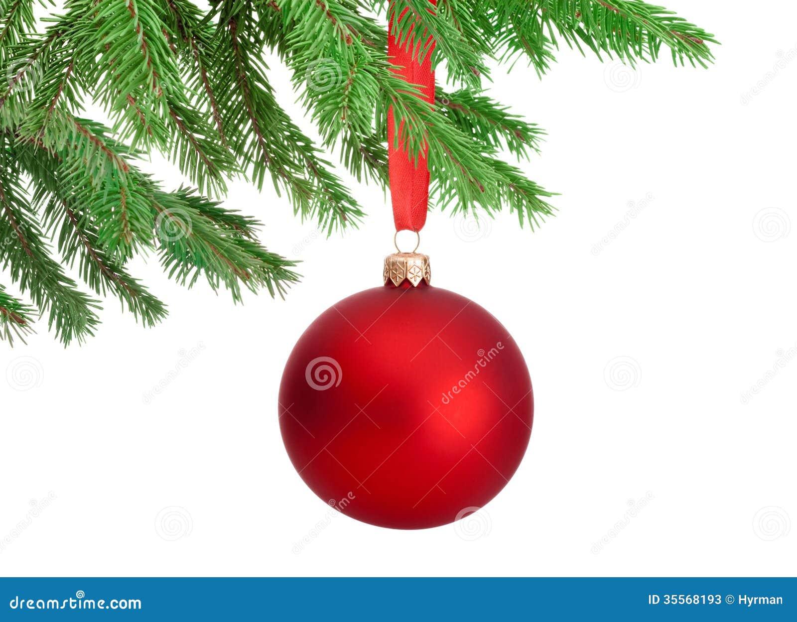 Boule rouge de no l accrochant sur une branche d 39 arbre de - Boule de noel rouge et blanche ...