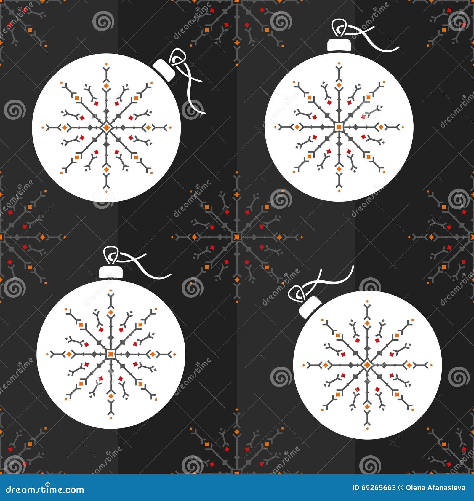 Boule sans couture de no l de mod le et flocon de neige ornemental illustration de vecteur - Boule a neige sans glycerine ...
