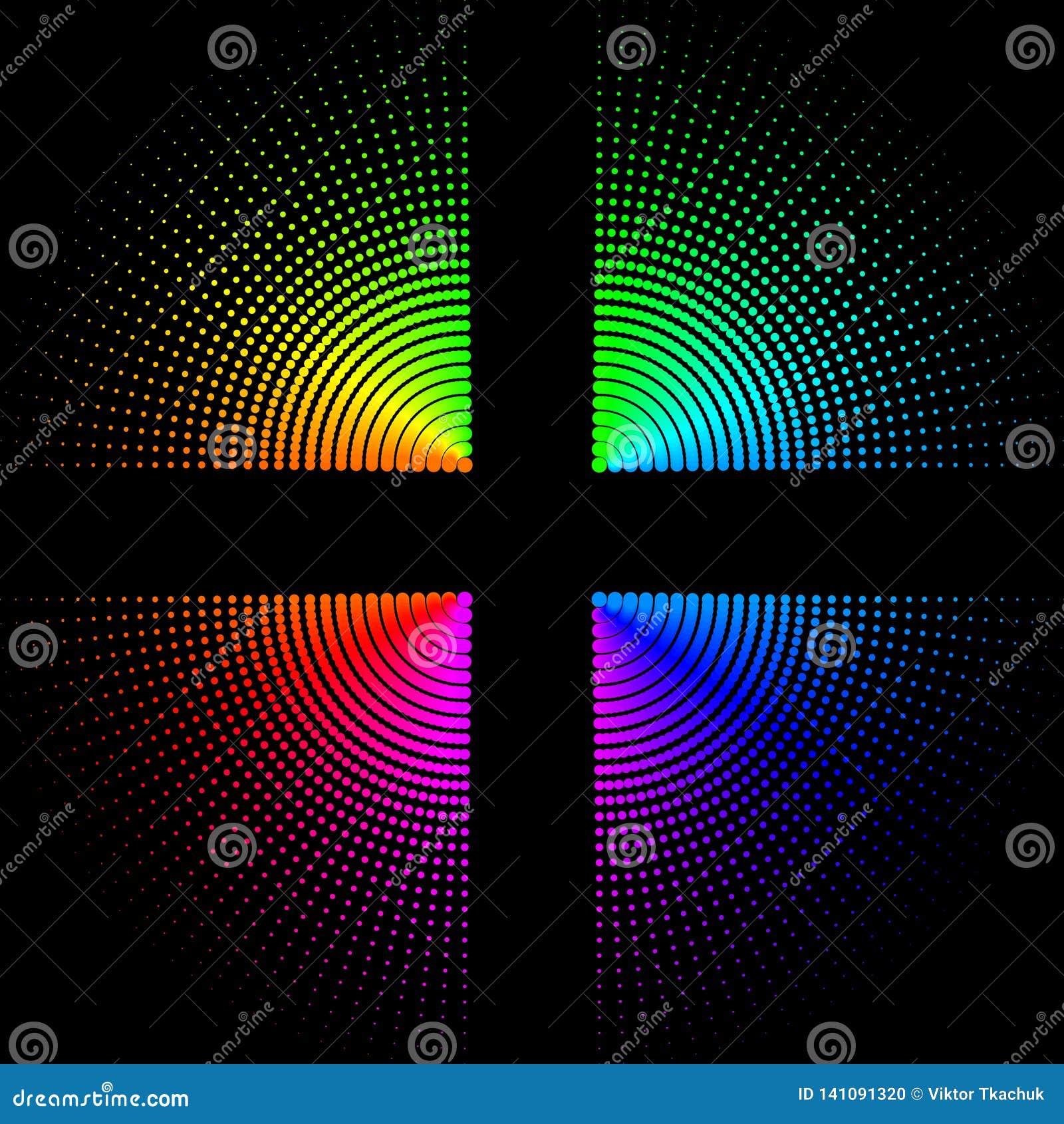 Boules colorées circulaires sur un fond noir