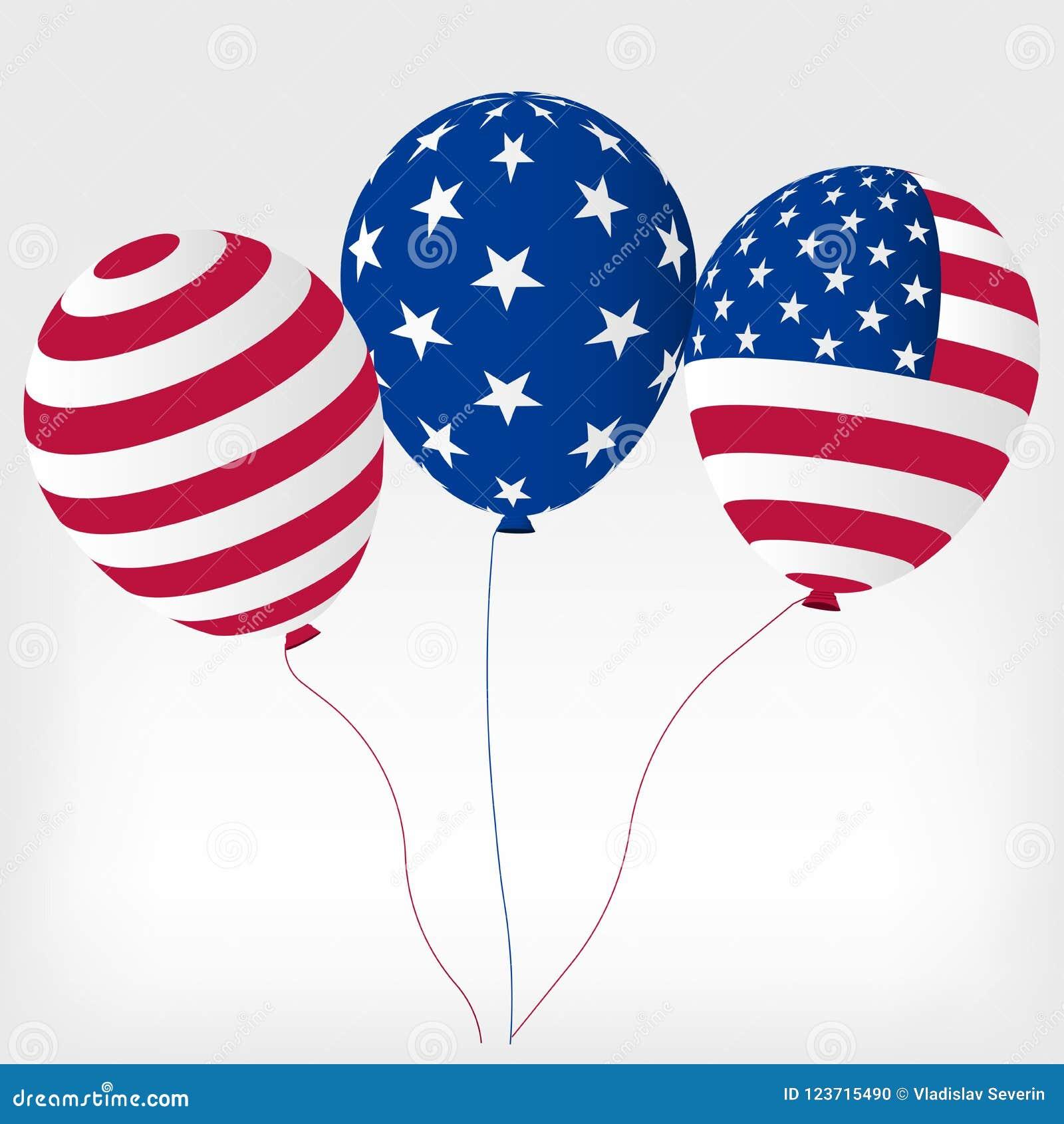 Boules d hélium avec des symboles des Etats-Unis d Amérique