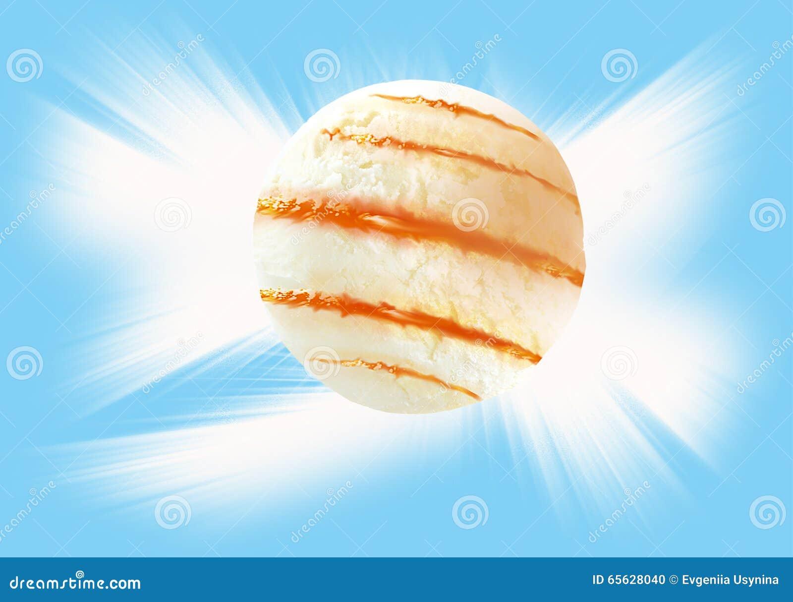 Boules de crème glacée et d écrimage avec le chemin de coupure