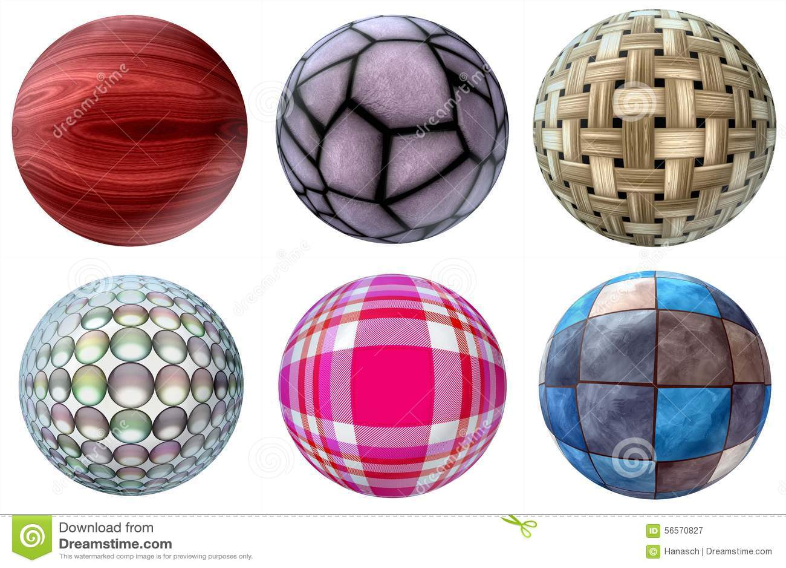 boules de diff rents mat riaux illustration stock image 56570827. Black Bedroom Furniture Sets. Home Design Ideas
