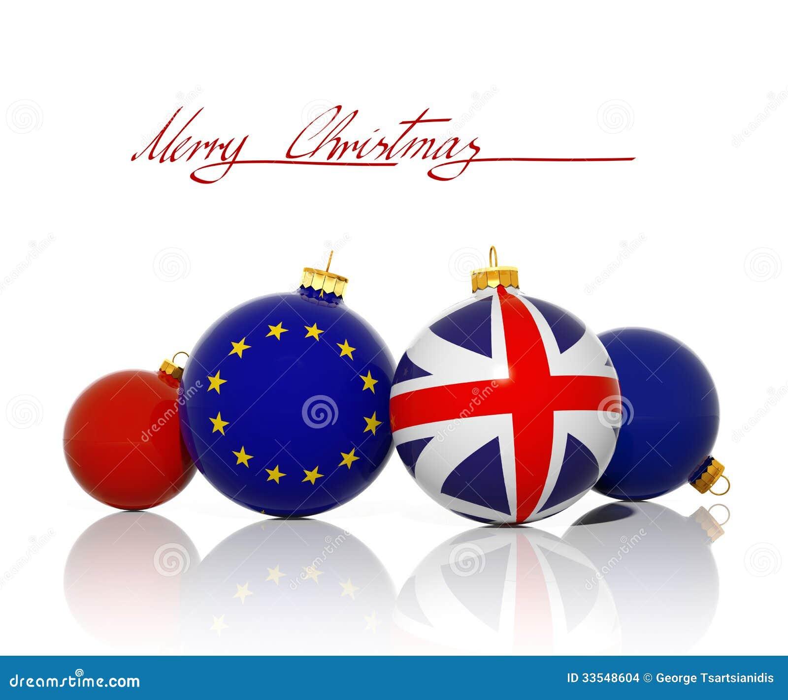 Boules de no l avec le drapeau de drapeau du royaume uni et d 39 union europ enne illustration - Boule de noel en anglais ...