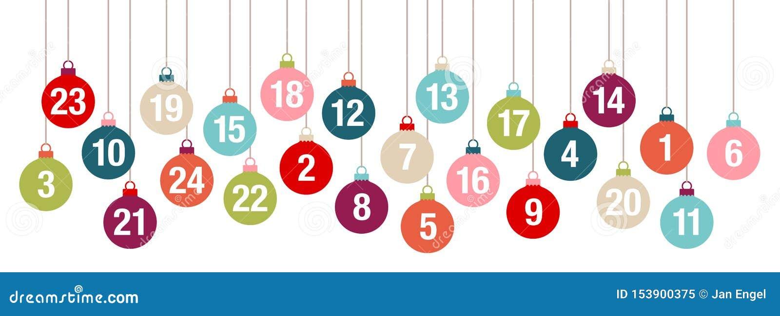 Boules de Noël d Advent Calendar Banner Colorful Hanging de bannière