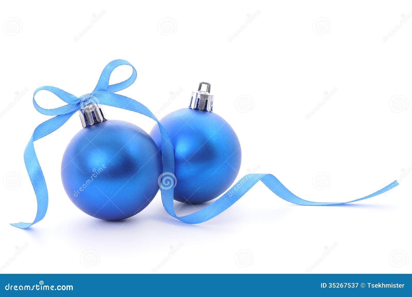 boules de no l et ruban bleu photographie stock libre de droits image 35267537. Black Bedroom Furniture Sets. Home Design Ideas