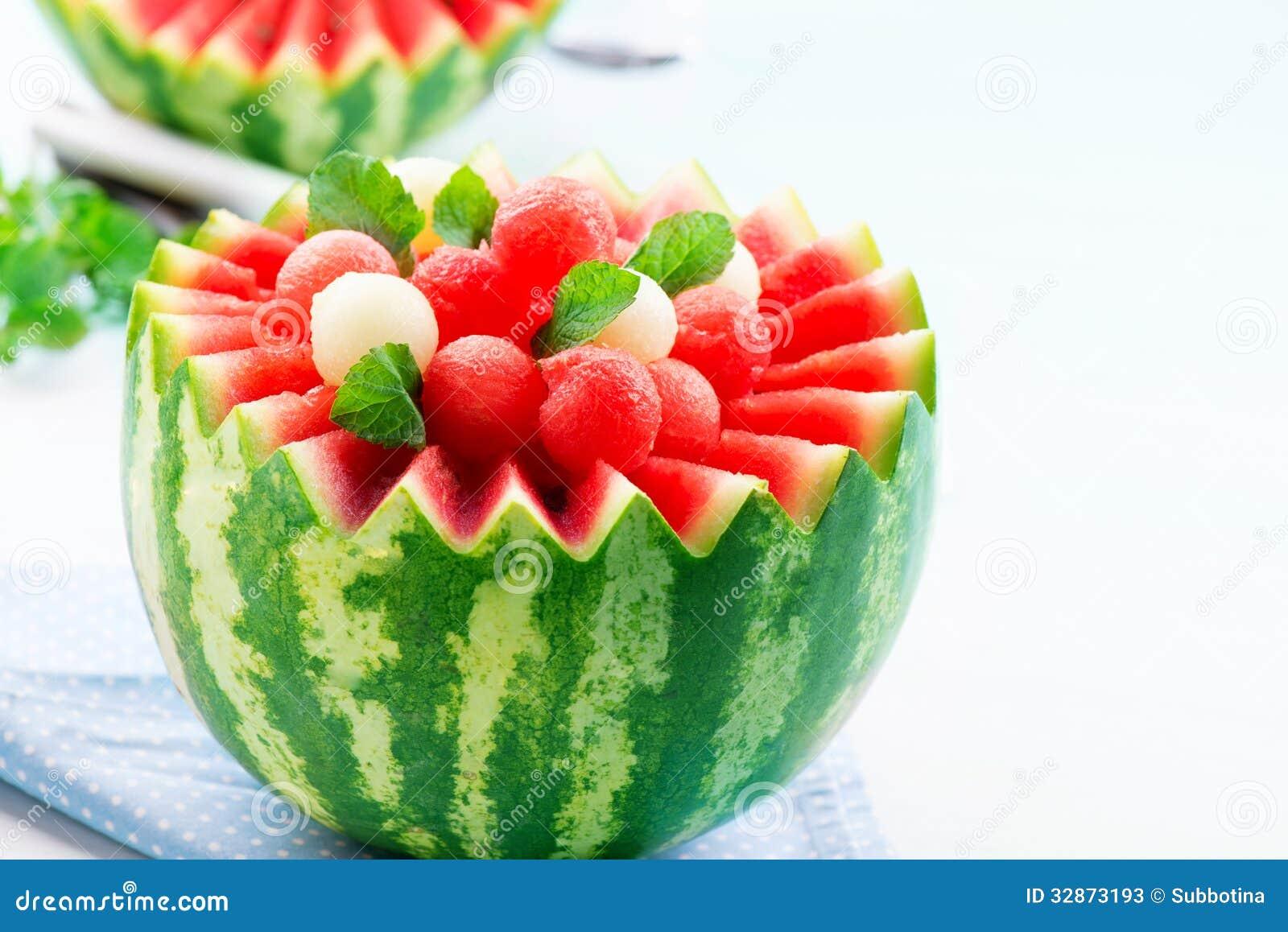 boules de pastèque et de melon image stock - image du dessert