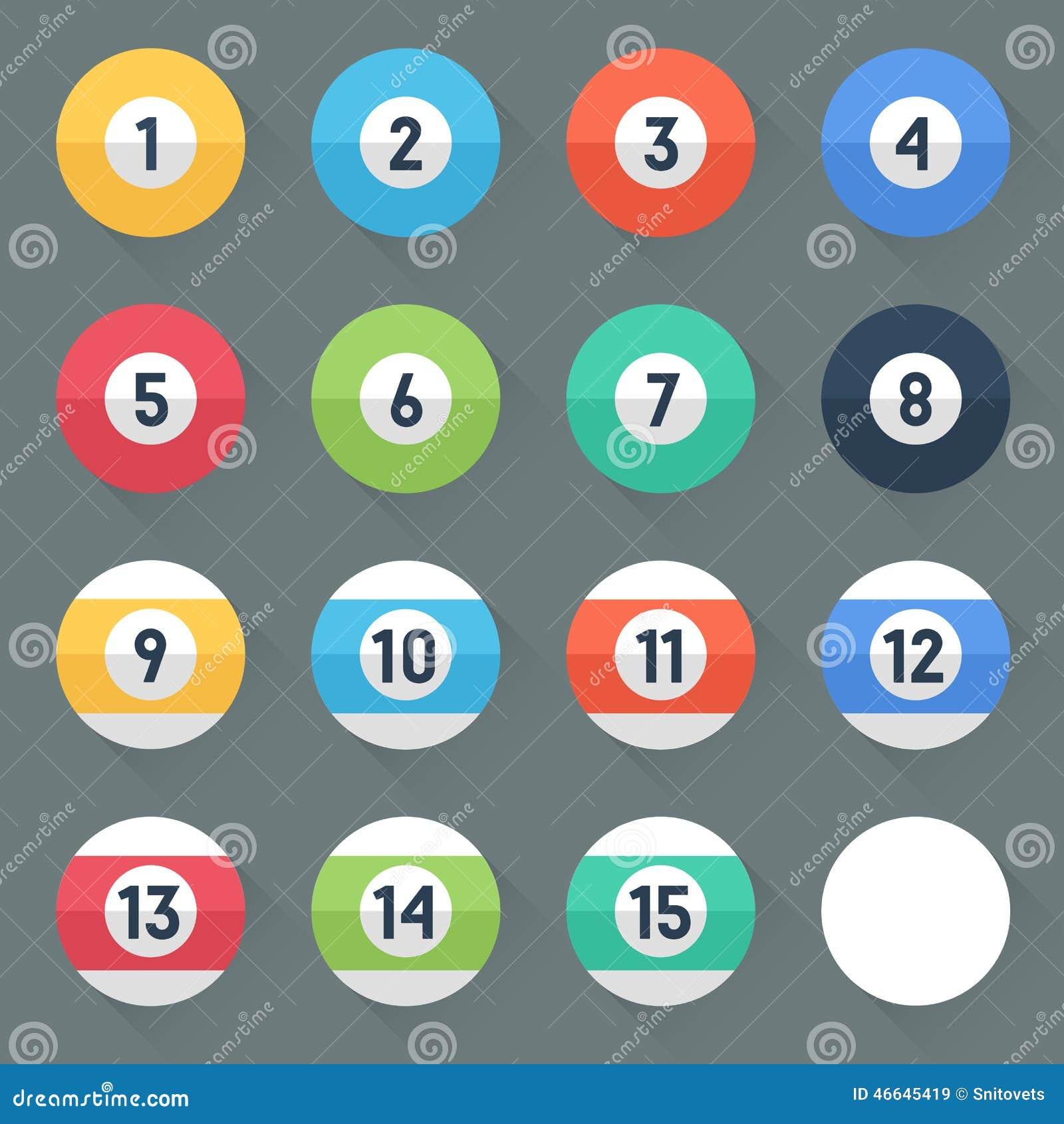 Boules de piscine color es num ros 1 15 et boule z ro for Boules lumineuses piscine