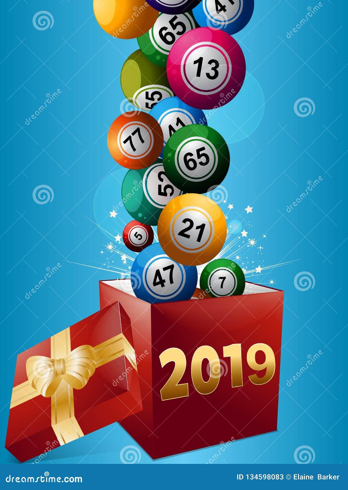 Boules et boîte-cadeau 2019 de bingo-test
