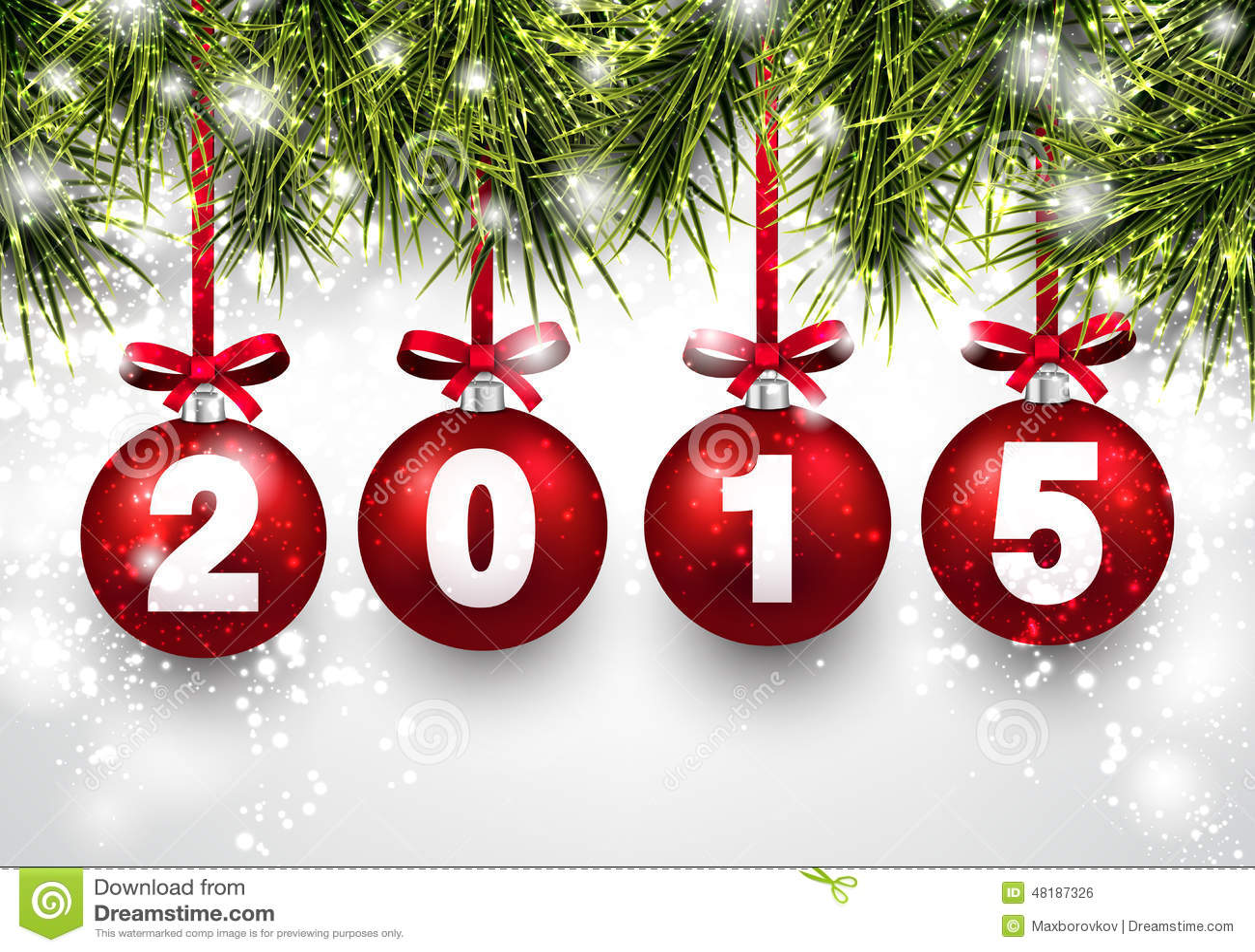 Boules Rouges De Noël Avec 2015 Illustration de Vecteur