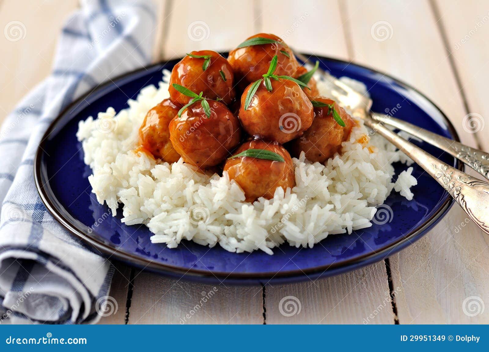 Boulettes de viande vitrées de poulet de cidre d Apple