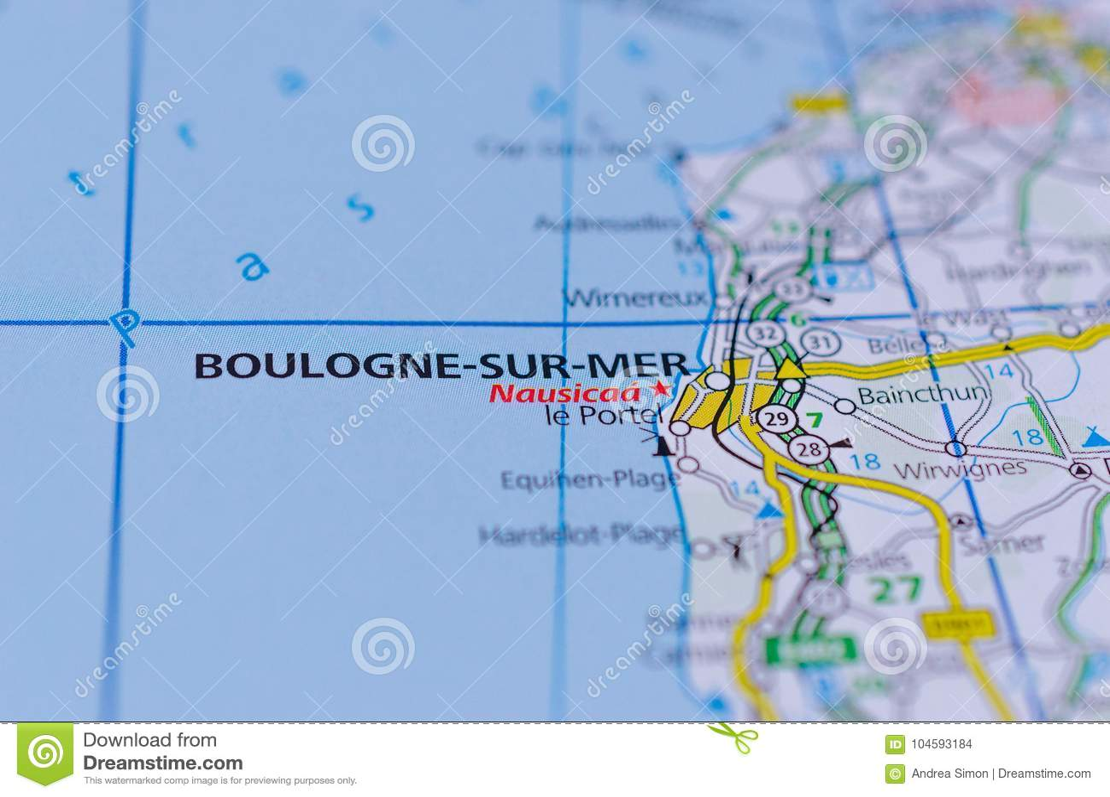 Boulogne-sur-Mer on map