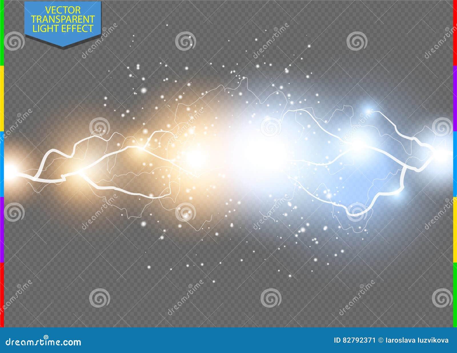 Boulon électrique bleu et jaune de vecteur de foudre Transparent d illustration d effet d énergie dans le format supplémentaire s