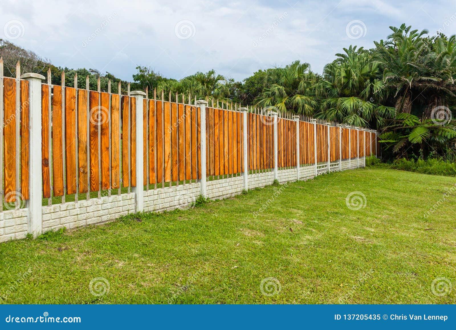 Boundary Fence Wood Steel Trees Stock Image - Image of slats