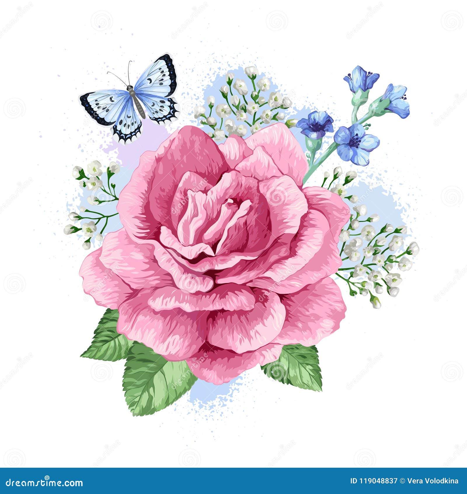 Bouquet of apple tree flower gypsophila in watercolor style download bouquet of apple tree flower gypsophila in watercolor style isolated on white background m4hsunfo
