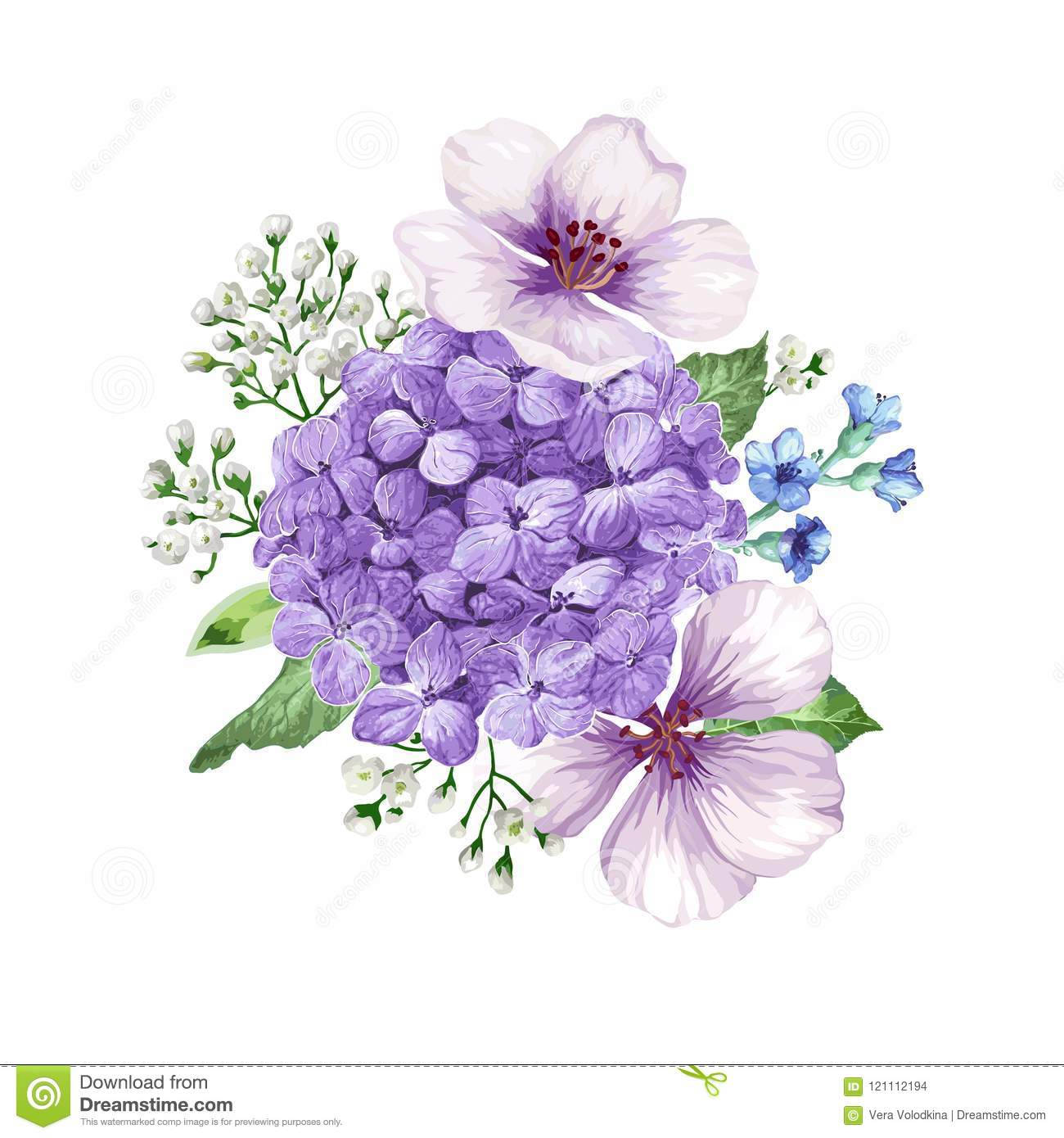 Bouquet Of Apple Tree Flower Gypsophila In Watercolor Style