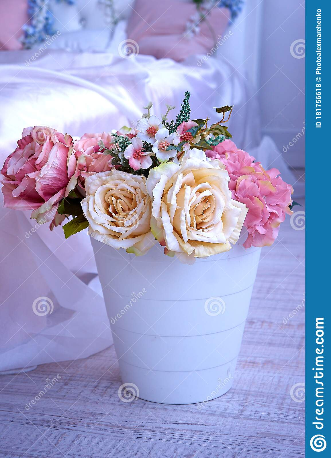 A Bouquet Of Artificial Flowers In A Vase On The Floor By The Bed Stock Photo Image Of Colorful Gift 181756618