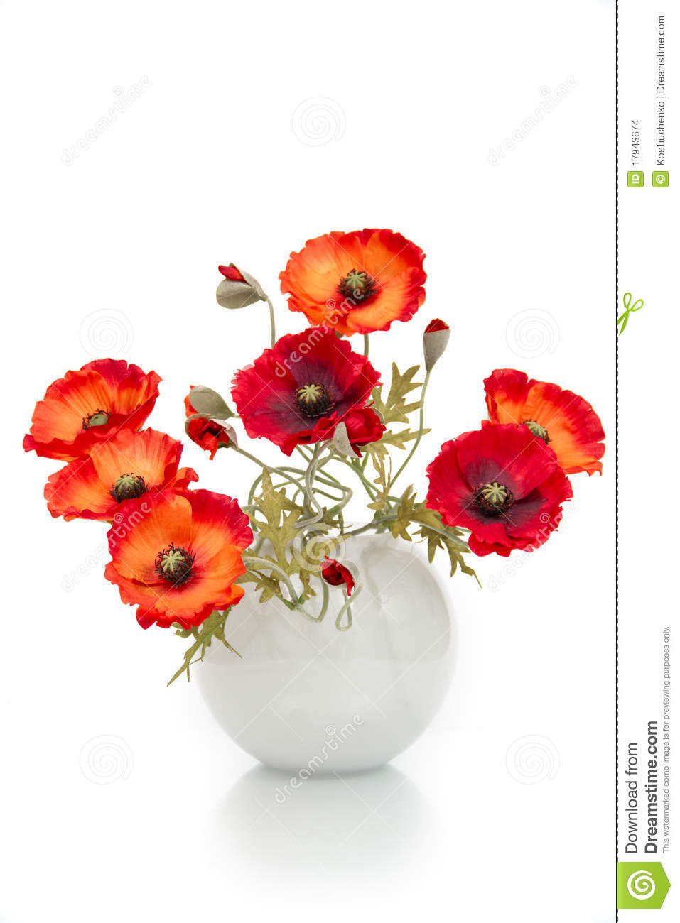 Bouquet Of Artificial Poppies In A Vase Stock Photo Image Of Orange Flowers 17943674