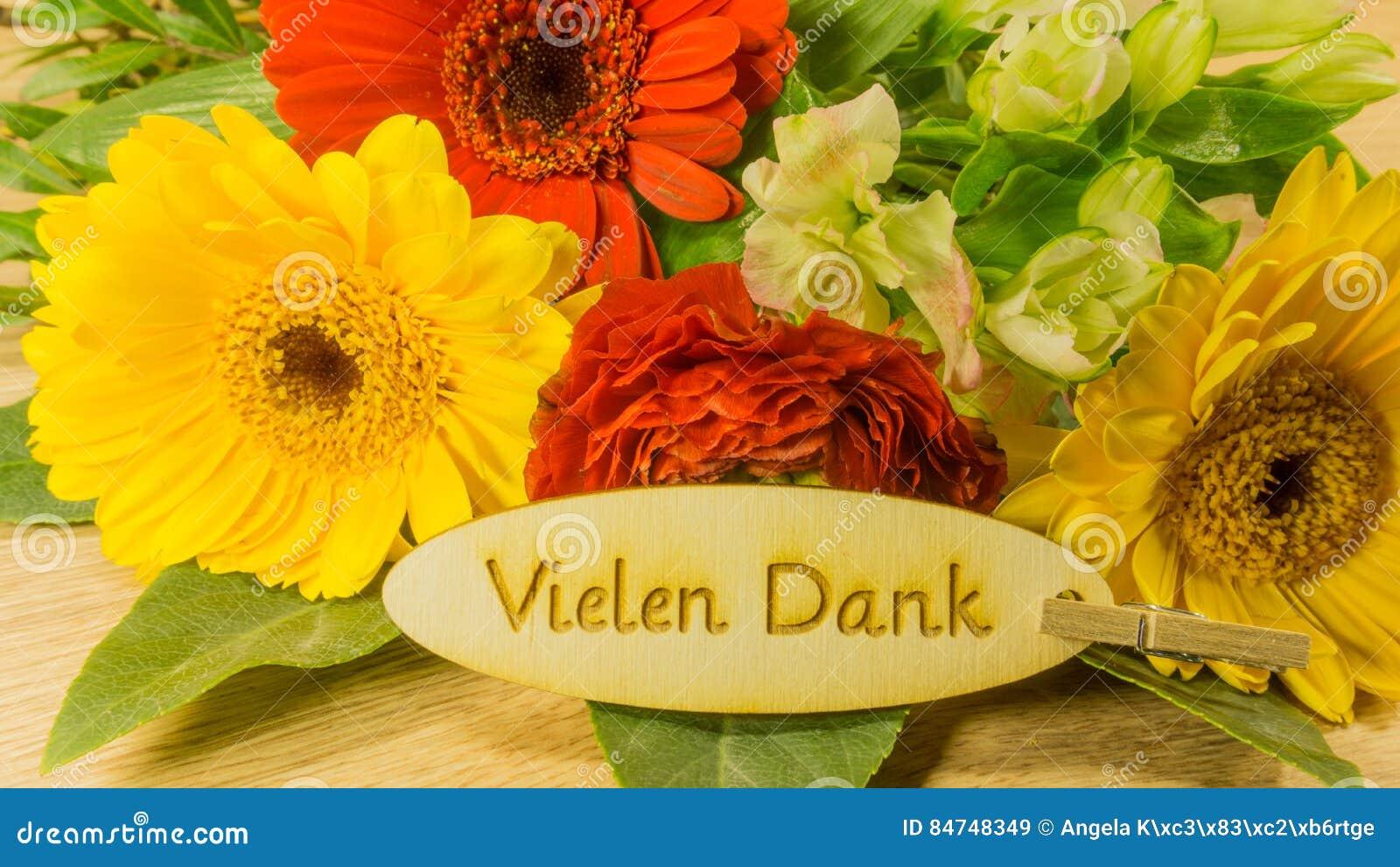 Bouquet Avec Le Texte En Allemand Image Stock Image Du