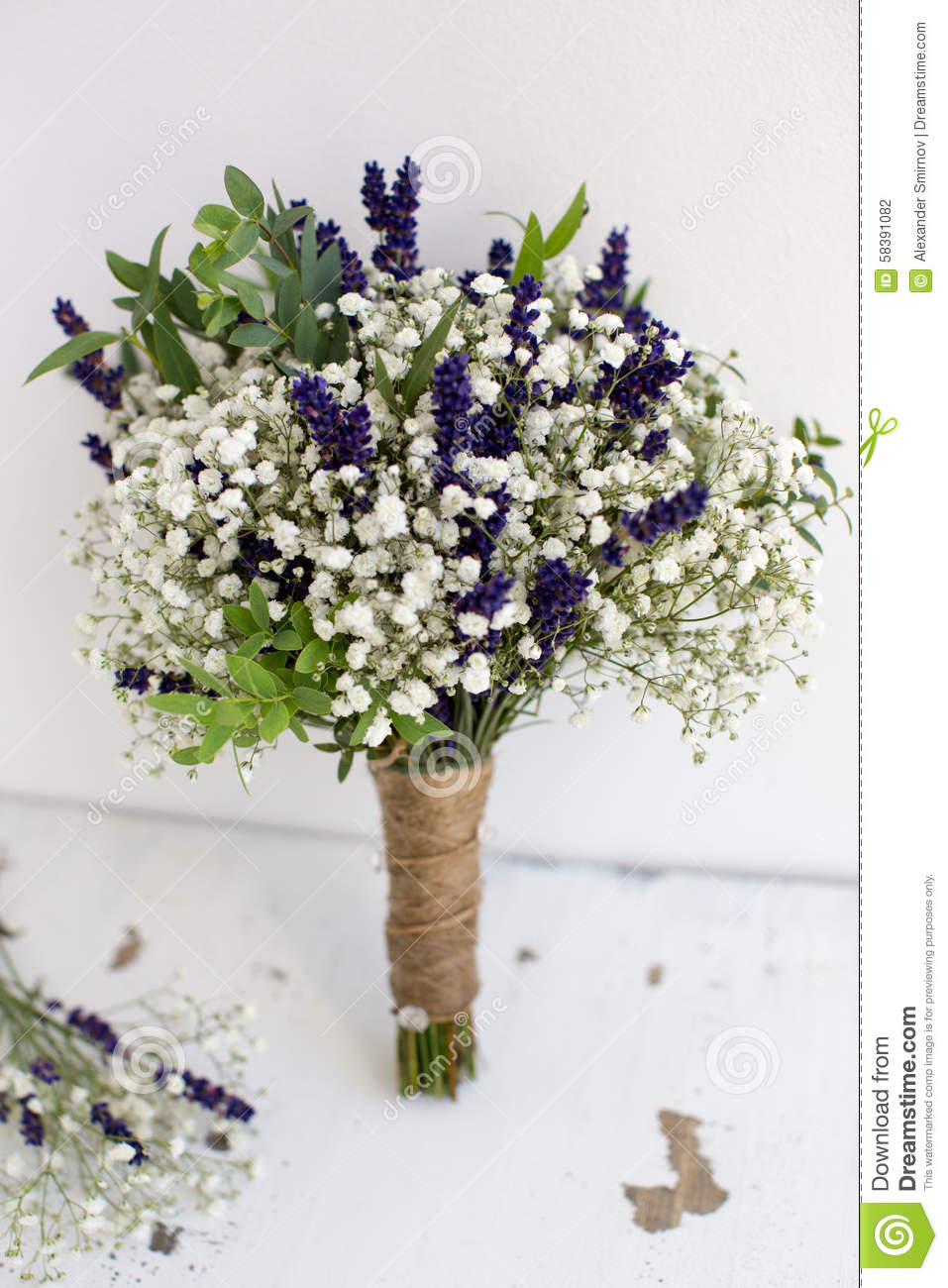 Bouquet Of Baby S Breath With Eucalyptus And Lavender Stock Photo Image Of Flower Limonium 58391082