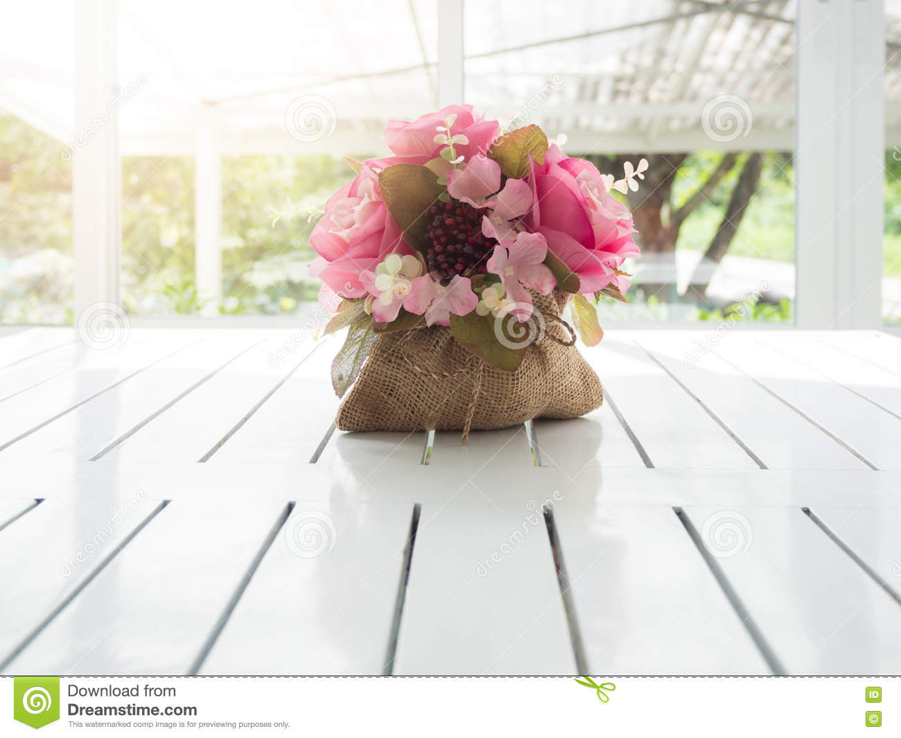 Bouquet Of Beautiful Artificial Flowers On White Wooden Table Stock