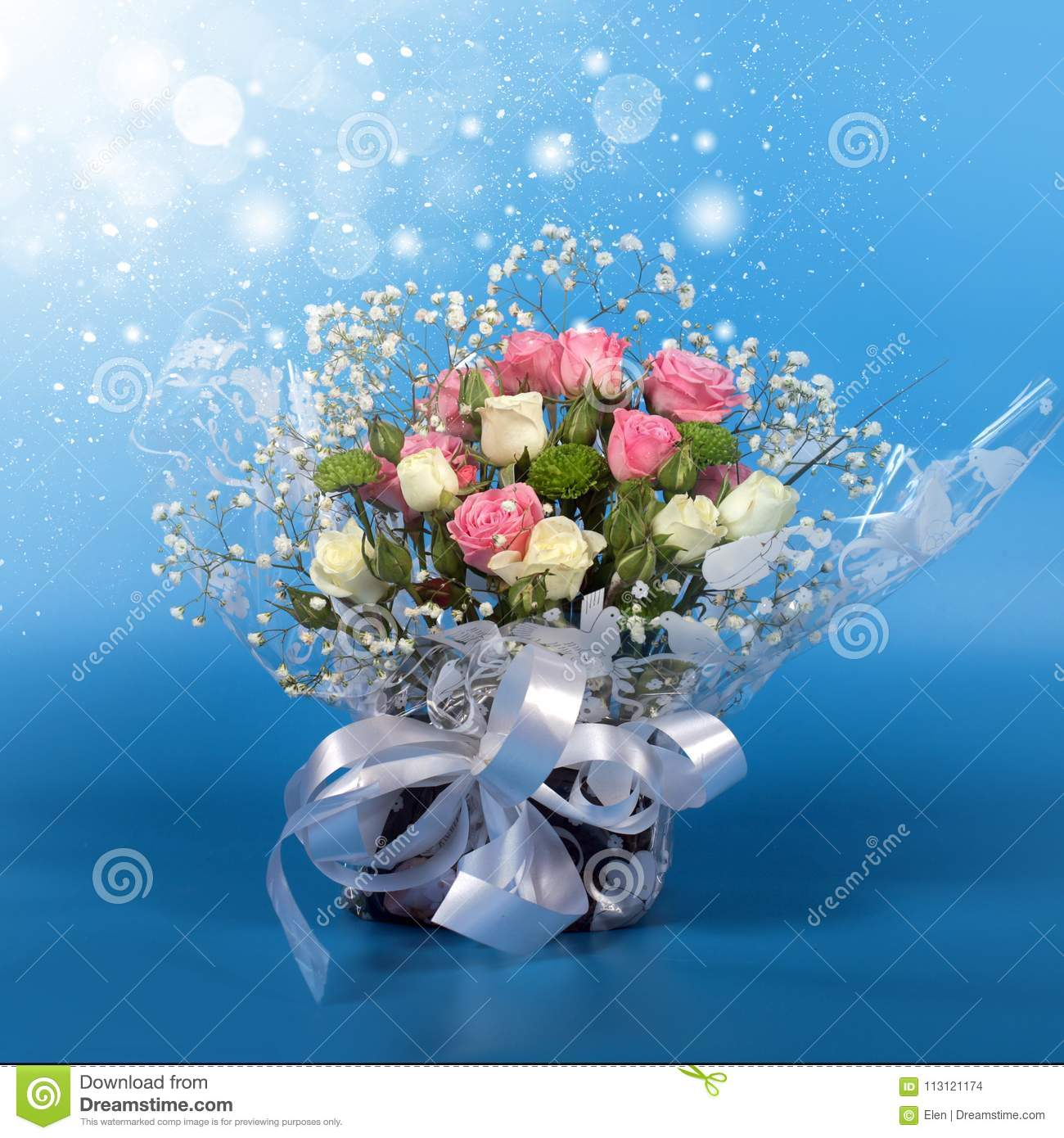 Bouquet Of Beautiful Flowers Roses Stock Photo Image Of Leaves