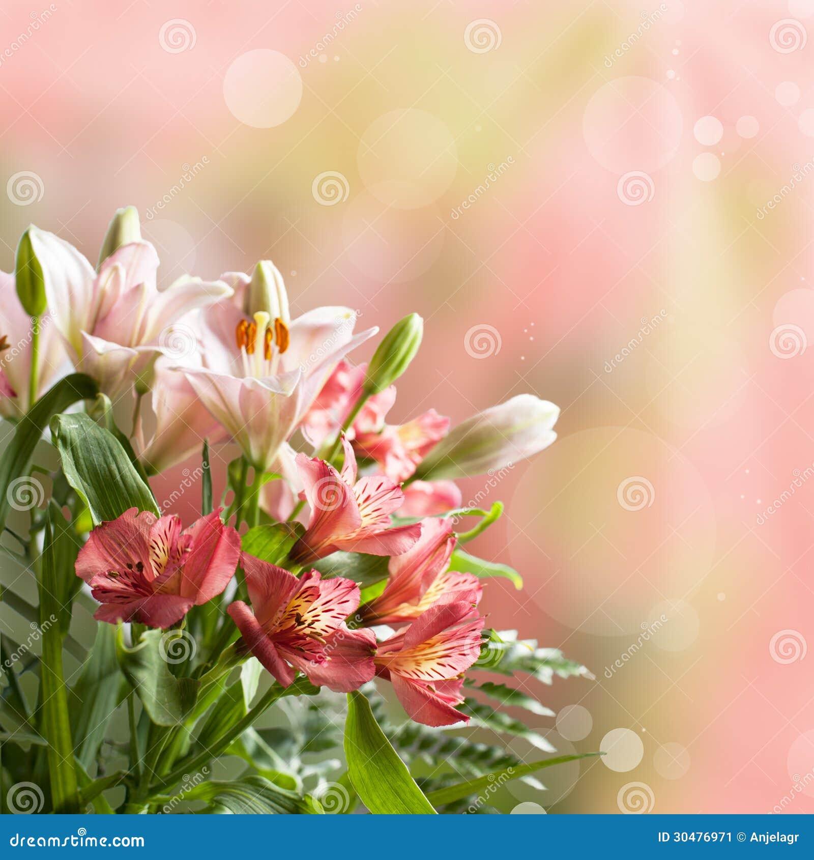 Bokeh Flowers Wedding: Bouquet Of Beautiful Pink Flowers With Bokeh Stock Image