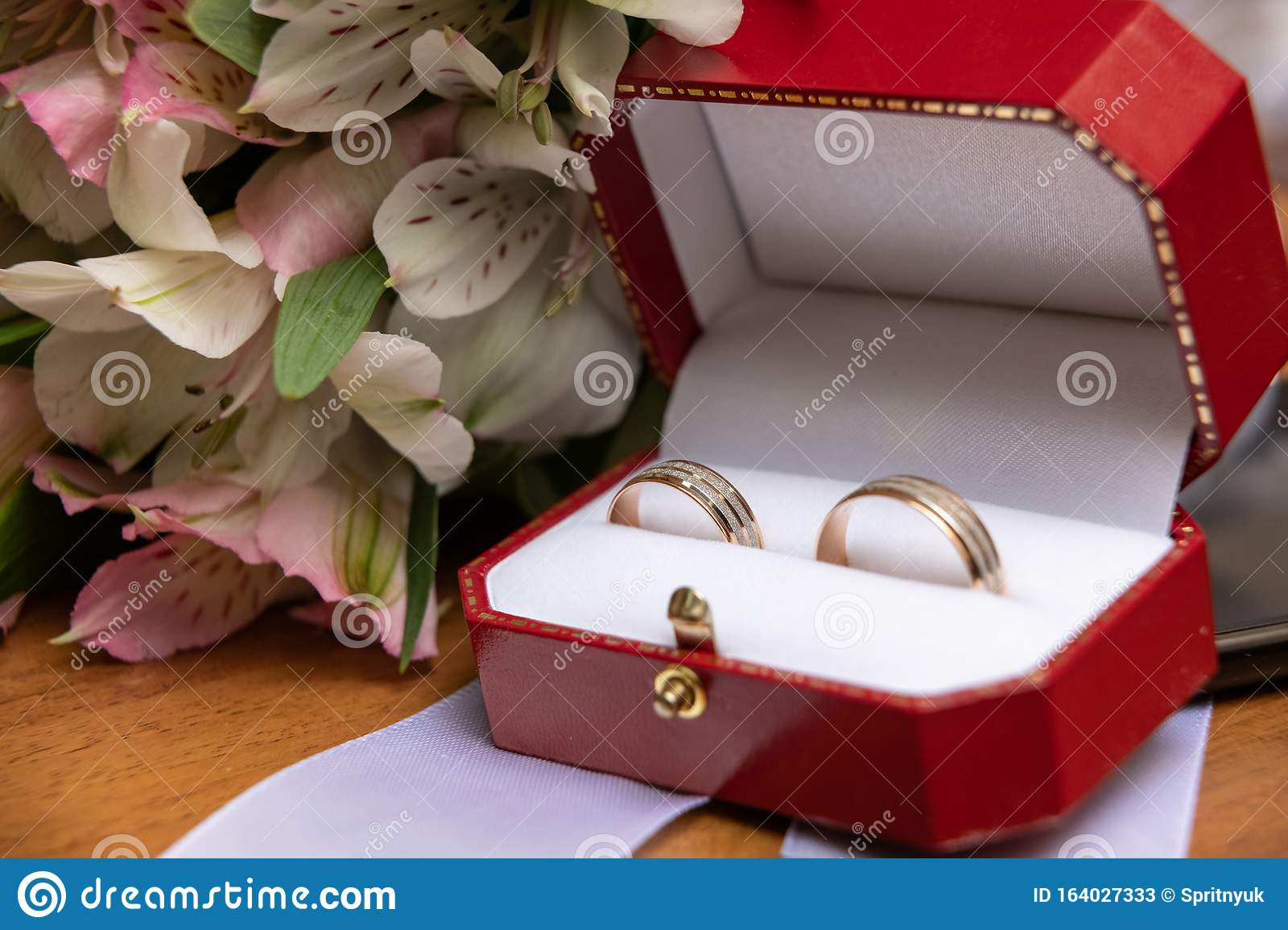 Bouquet With Beautiful Roses And Wedding Rings Stock Image Image Of Beautiful Antique 164027333