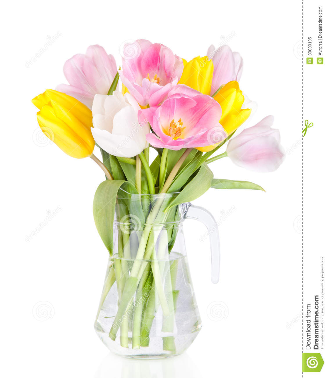 Bouquet Of Beautiful Tulips Flowers In Vase Isolated On White Stock
