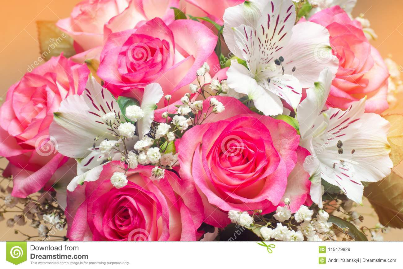A Bouquet Of Beautiful Wedding Flowers, Pink Roses. Close Up Stock ...