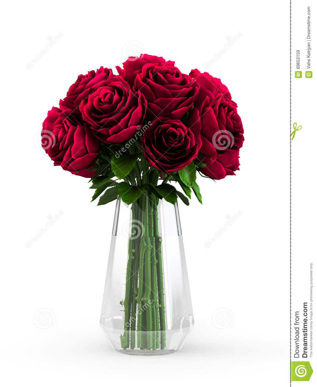 Bouquet Of Blossoming Dark Red Roses In Transparent Vase ...