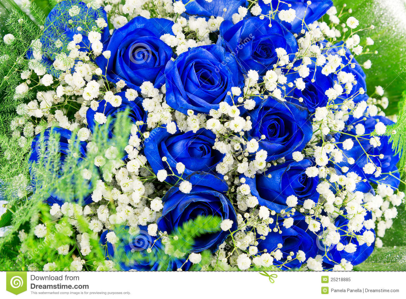 Bouquet Of Blue Flowers- Roses Stock Image - Image of background ...