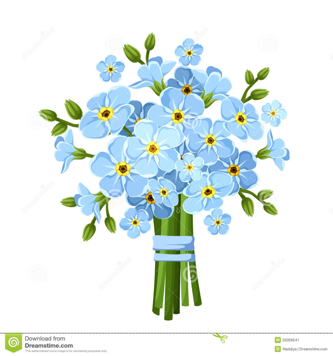 Vector Illustration Of Flower Forget Me Not Cartoon Vector Cartoondealer Com 42468215